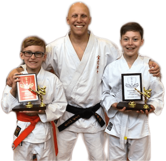 Mike Pannulla with Two Magnus Karate School Students