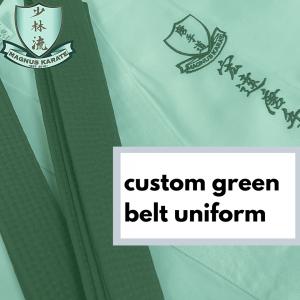 custom green belt uniform
