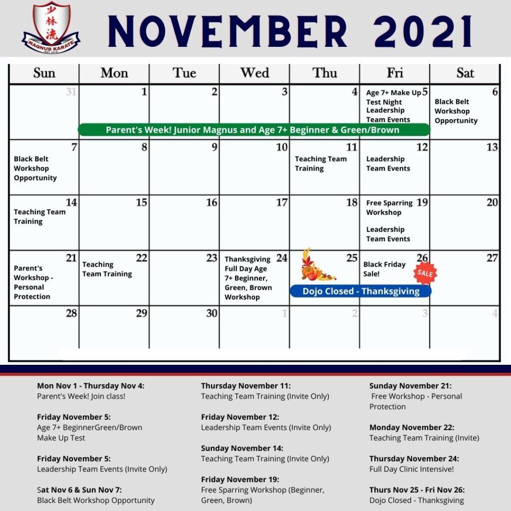 Calendar November 2021