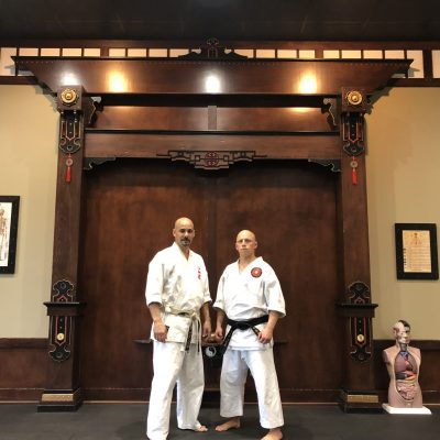 Sensei pictured with his teacher and mentor Tony D'Angelo, Kyoshi at his dojo in New Lenox, IL